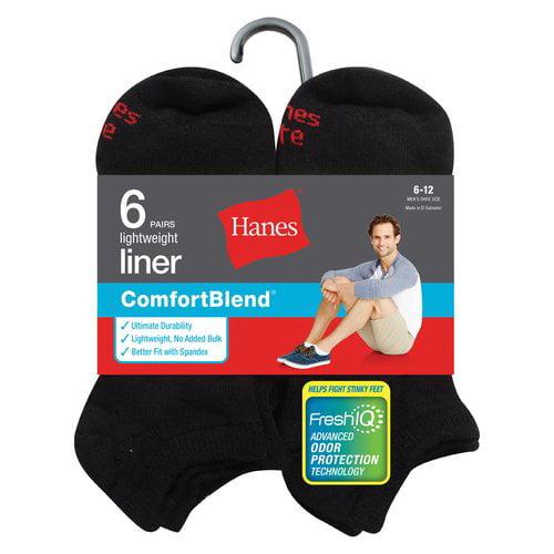 Hanes Men's 6 Pack  Liner Socks