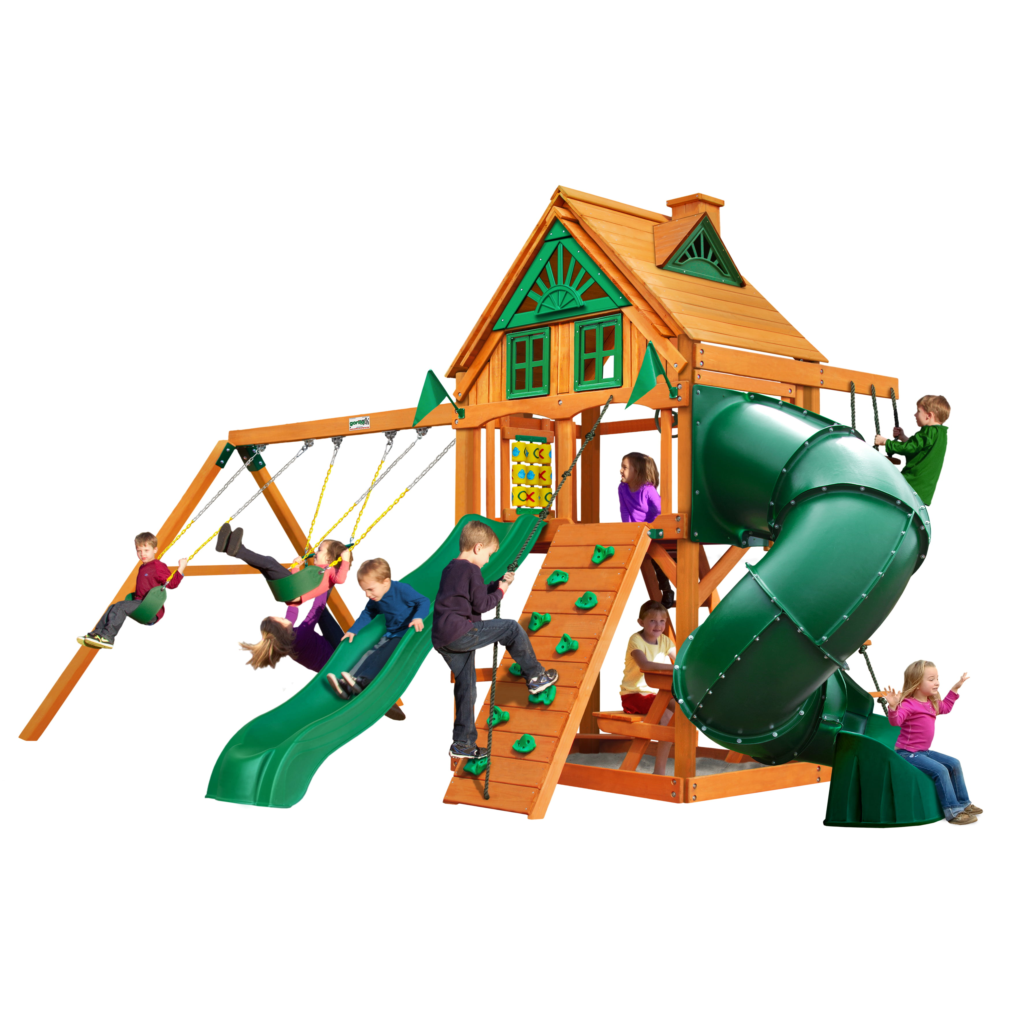 Gorilla Playsets Mountaineer Treehouse Wooden Swing Set with Tube Slide, Rope Ladder, and Sandbox by Gorilla Playsets