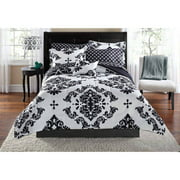 Mainstays Classic Noir 7-8 Piece Bed in a Bag Bedding Comforter Set with BONUS Sheet Set and Throw Pillow, Twin/TwinXL, Black