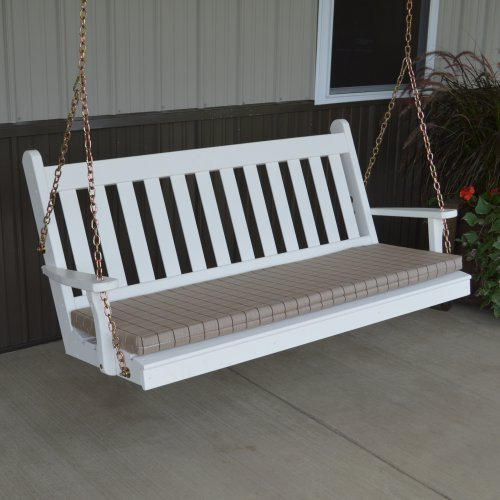 A & L Furniture Yellow Pine Traditional English Porch Swing