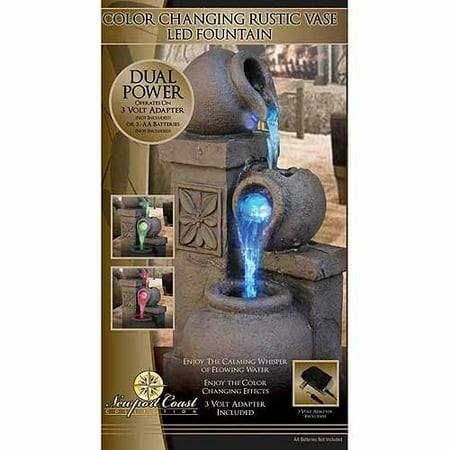 Newport Coast Collection Color Changing Rustic Vase LED Fountain