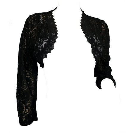 eVogues Plus Size Black Long Sleeve Lace Cropped Bolero (Crop Bolero Shrug)
