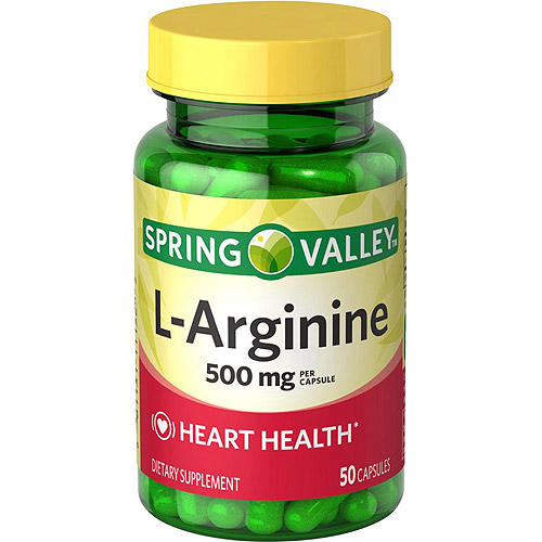 Spring Valley L-Arginine Dietary Supplement Capsules, 500 mg, 50 Count