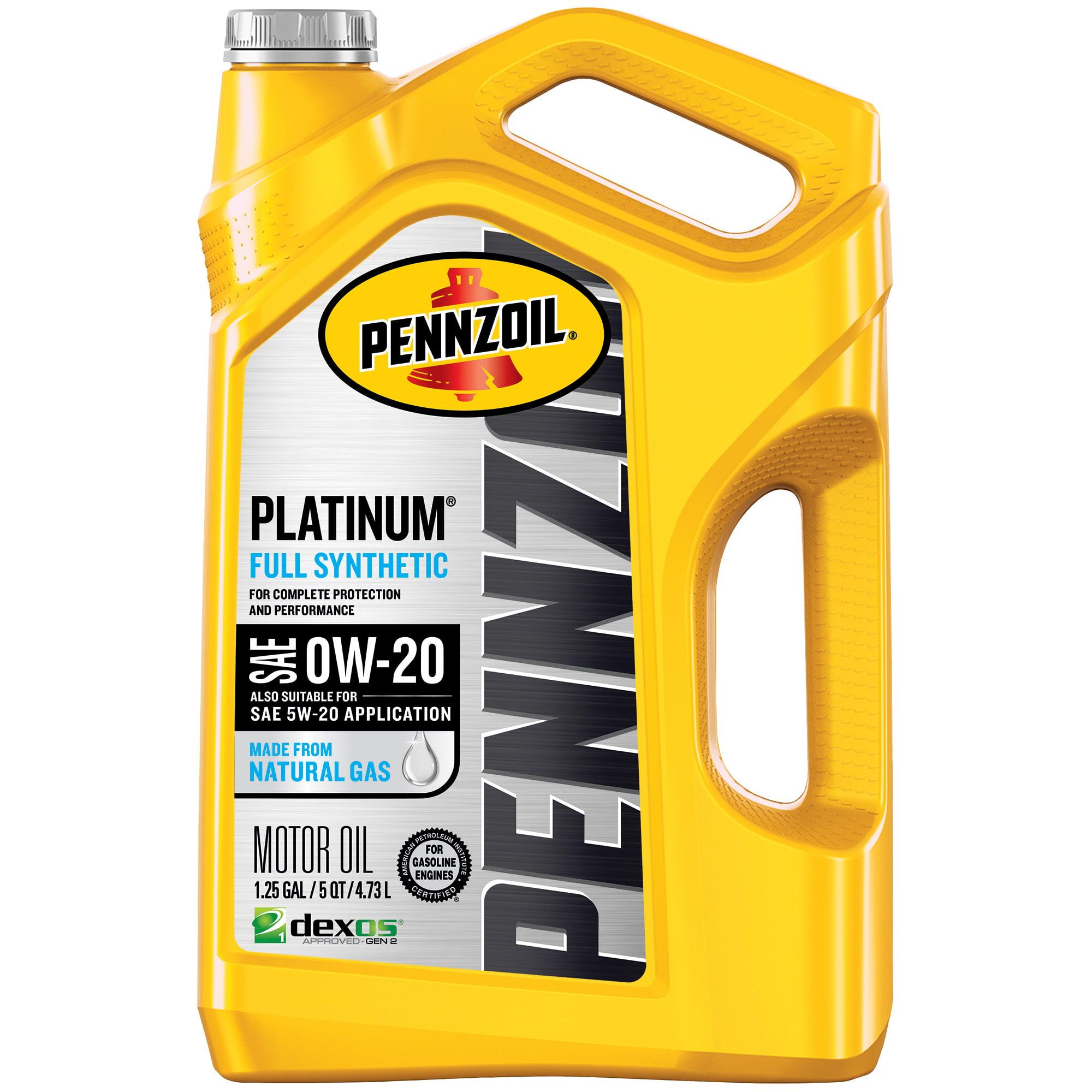 Pennzoil Platinum 0W-20 Full Synthetic Motor Oil, 5 Quart