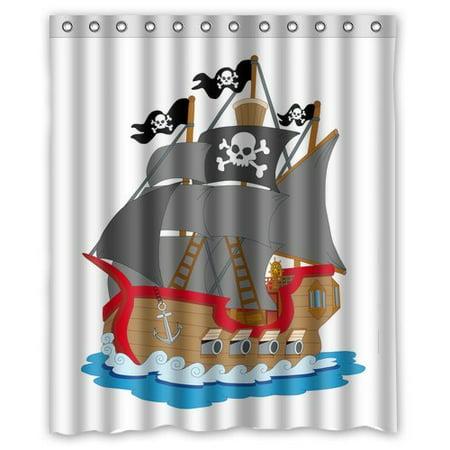 HelloDecor Sailing Ship Boat Pirate Ship Shower Curtain Polyester Fabric Bathroom Decorative Curtain Size 60x72 Inches - Pirate Shower Curtain