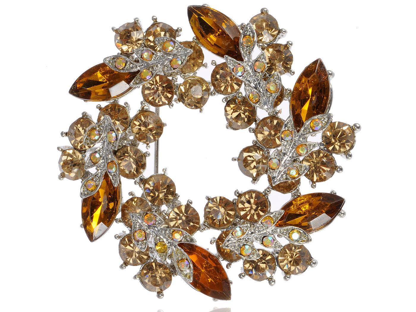Amber Topaz Crystal Rhinestone Floral Flower Leaf Reef Craft Fashion Brooch Pin by