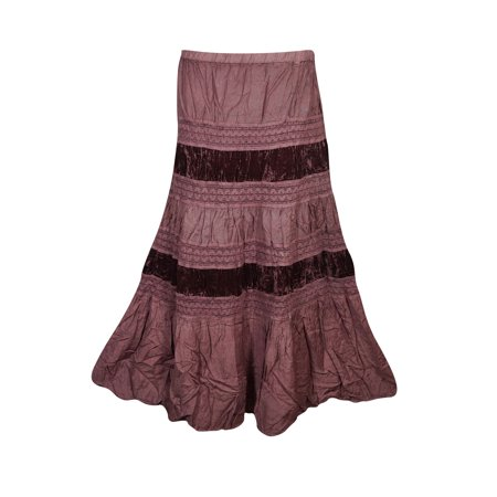 Rayon Velvet Skirt - Mogul Womens Tiered Skirt Velvet Touch Rayon A-LINE Boho Chic Hippy Gypsy Medieval Vintage Skirts