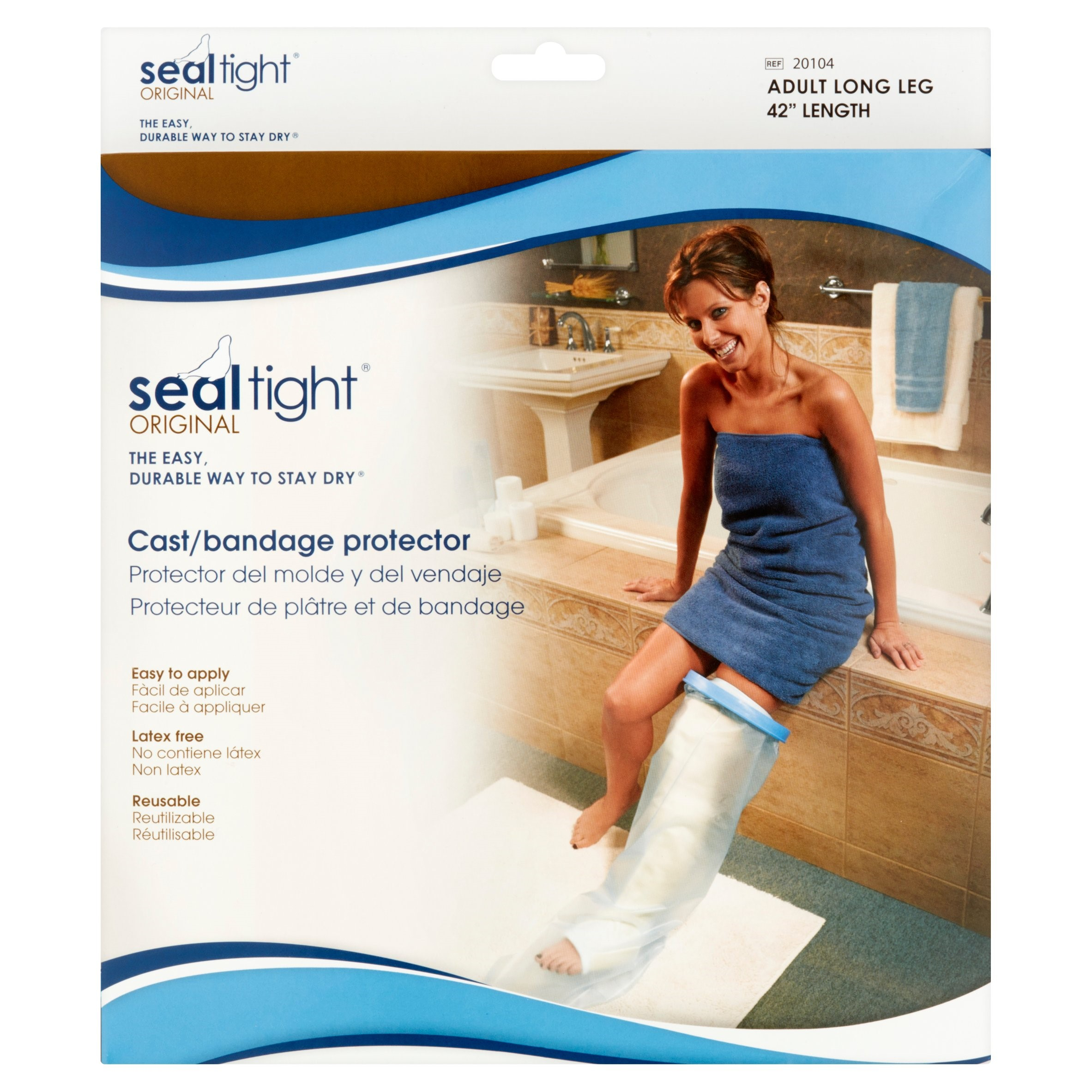 """Seal-Tight Cast and Wound Protector, Adult Long Leg, 42"""", Clear"""