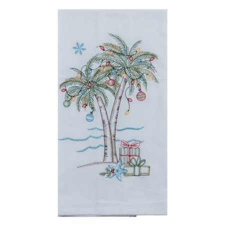 Palm Plus Dish - Holiday Palm Trees and Gifts Embroidered Flour Sack Kitchen Dish Towel