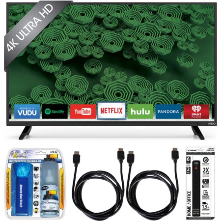Vizio D40u-D1 40-Inch 120Hz 4K Ultra HD Full-Array LED Smart TV w/ Accessory Bundle includes TV, Screen Cleaning Kit, 6 Outlet Power Strip with Dual USB Ports and 2 HDMI Cables