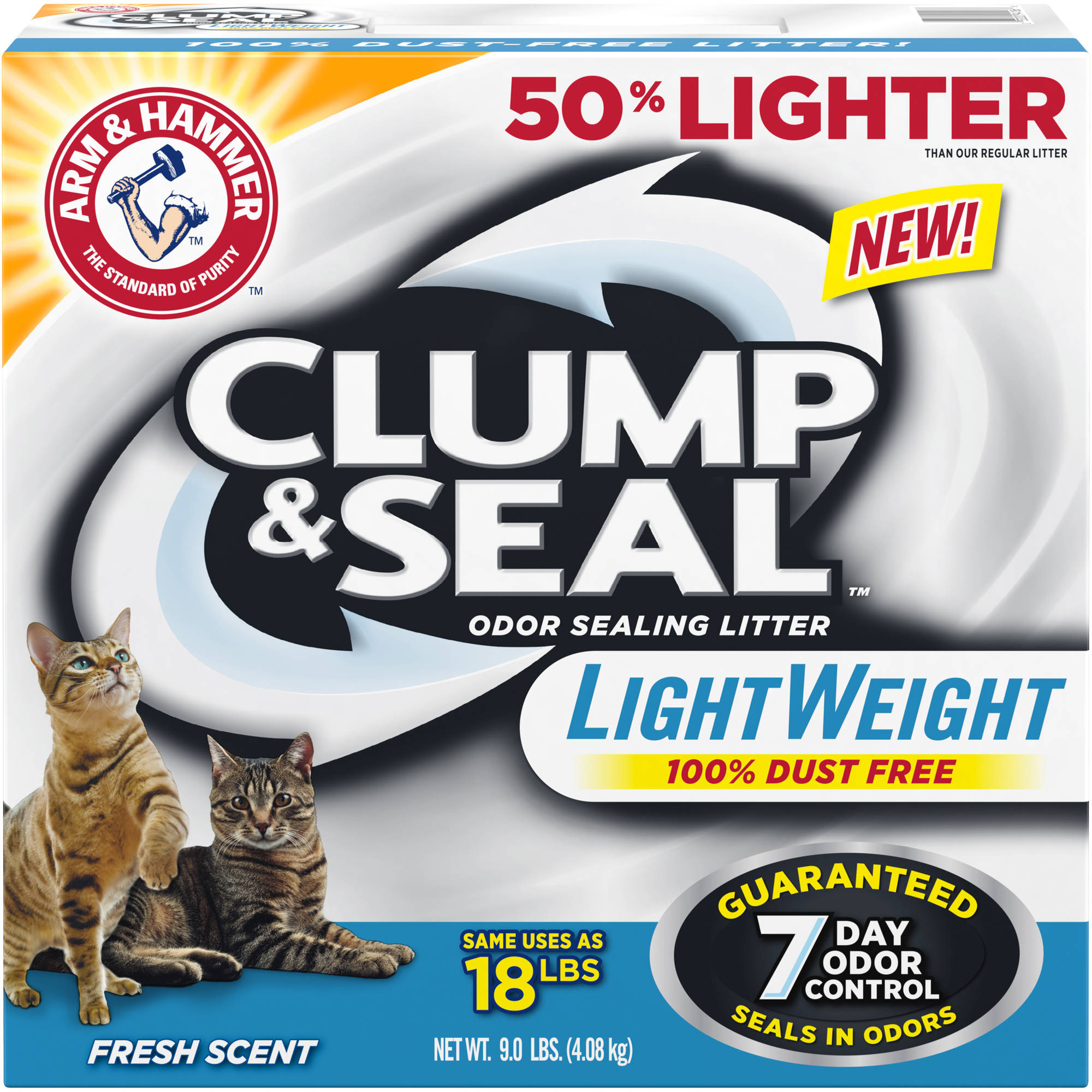 Arm & Hammer Clump & Seal Light Weight Fresh Scent Odor Sealing Cat Litter 9 lbs. Box