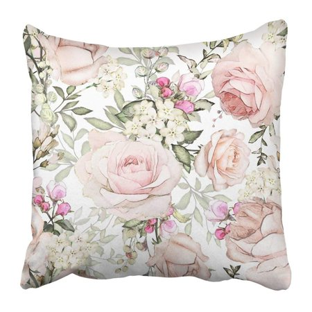 ARTJIA Gray Artistic with Pink Flowers and Leaves on White Watercolor Floral Pattern Rose in Pastel Color Pillowcase Pillow Cover 18x18 inches