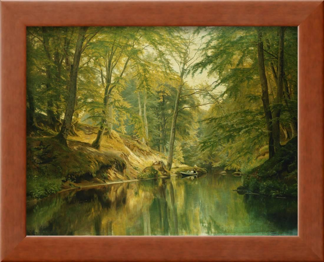 93d68545f085 A Wooded River Landscape with Figures in a Boat