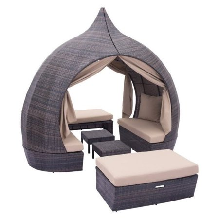 Zuo Majorca Outdoor Daybed Brown Beige