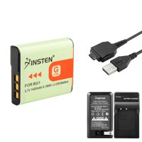 Insten Charger +2 Battery for Sony Cybershot G Type NP-BG1+USB (4-in-1 Accessory Bundle)