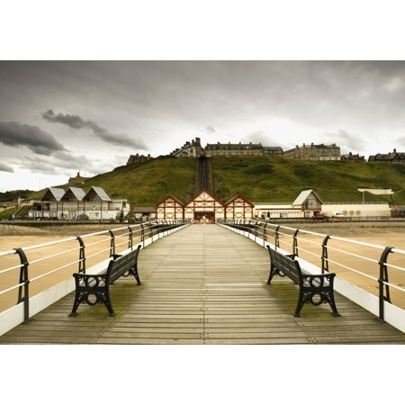 Benches Along A Pier Saltburn Cleveland England Stretched Canvas - John Short  Design Pics (36 x - Pier 26 Halloween
