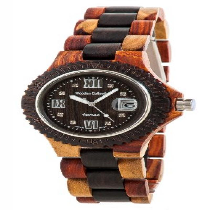 Tense Inlaid Varied Wood Discovery Compass Mens Watch Rom...