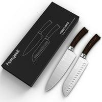 "Homgeek Wood Handle Chef Knife & Santoku Knife Set Germany Steel Kitchen Knife Fruit Knife with Storage Case Professional 8"" Chef's Knife & 7"" Santoku Knife 2 Piece Gift Set"