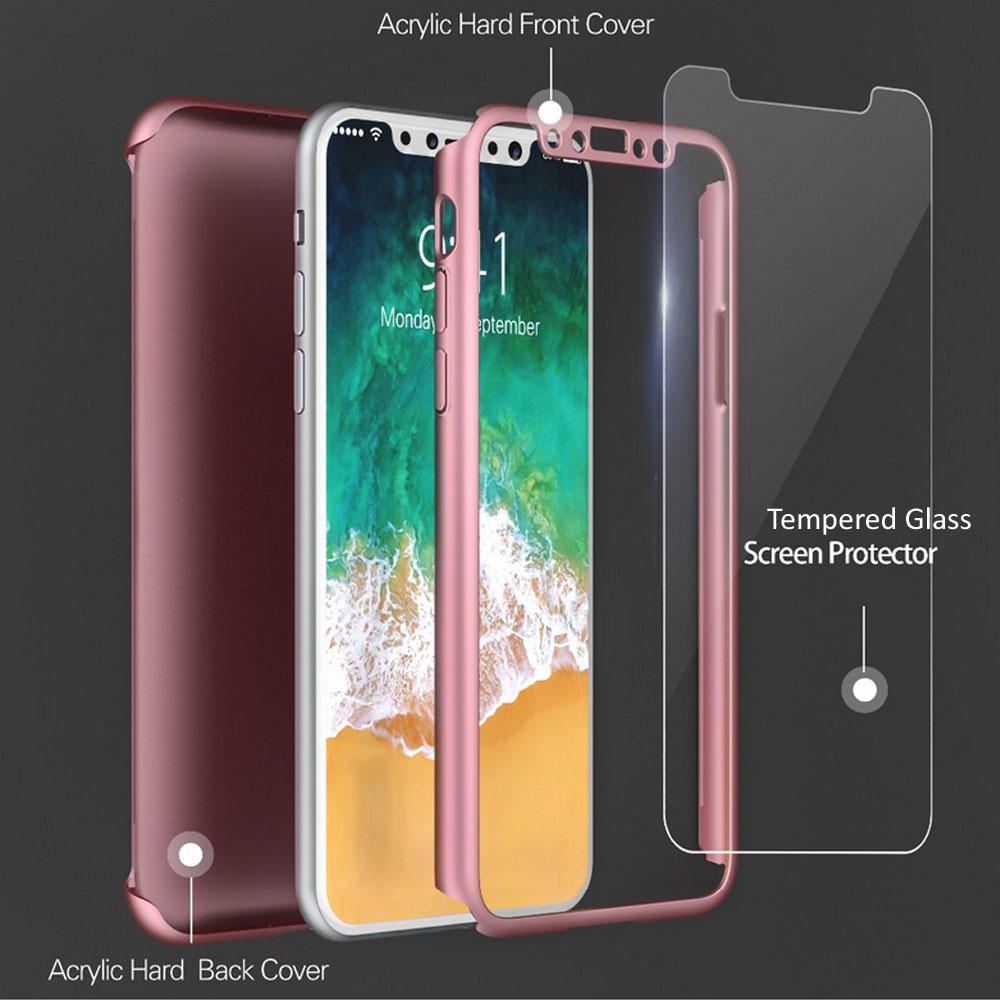 Indigi For iPhone X 360° Protection Bumper Case Tempered Glass Full Body Cover RoseGold