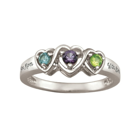 Personalized Family Jewelry Birthstone Entwined Mother's Ring available in Sterling Silver, Gold and White Gold