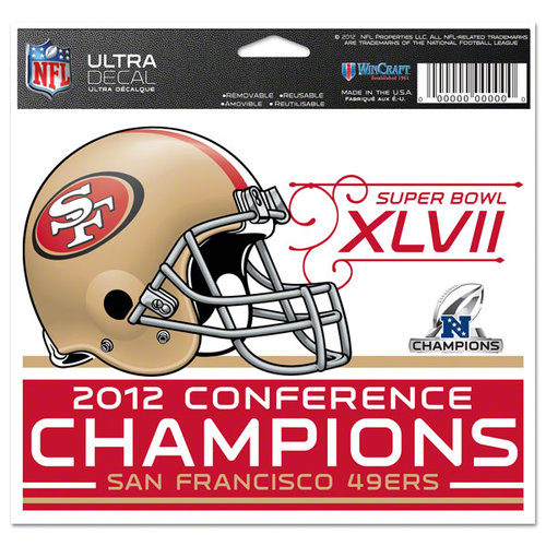 NFL - San Francisco 49ers 2012 NFC Conference Champions 4x6 Ultra Decal