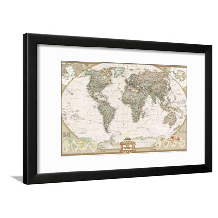 World Political Map, Executive Style Framed Print Wall Art By National Geographic Maps Executive World Wall Map