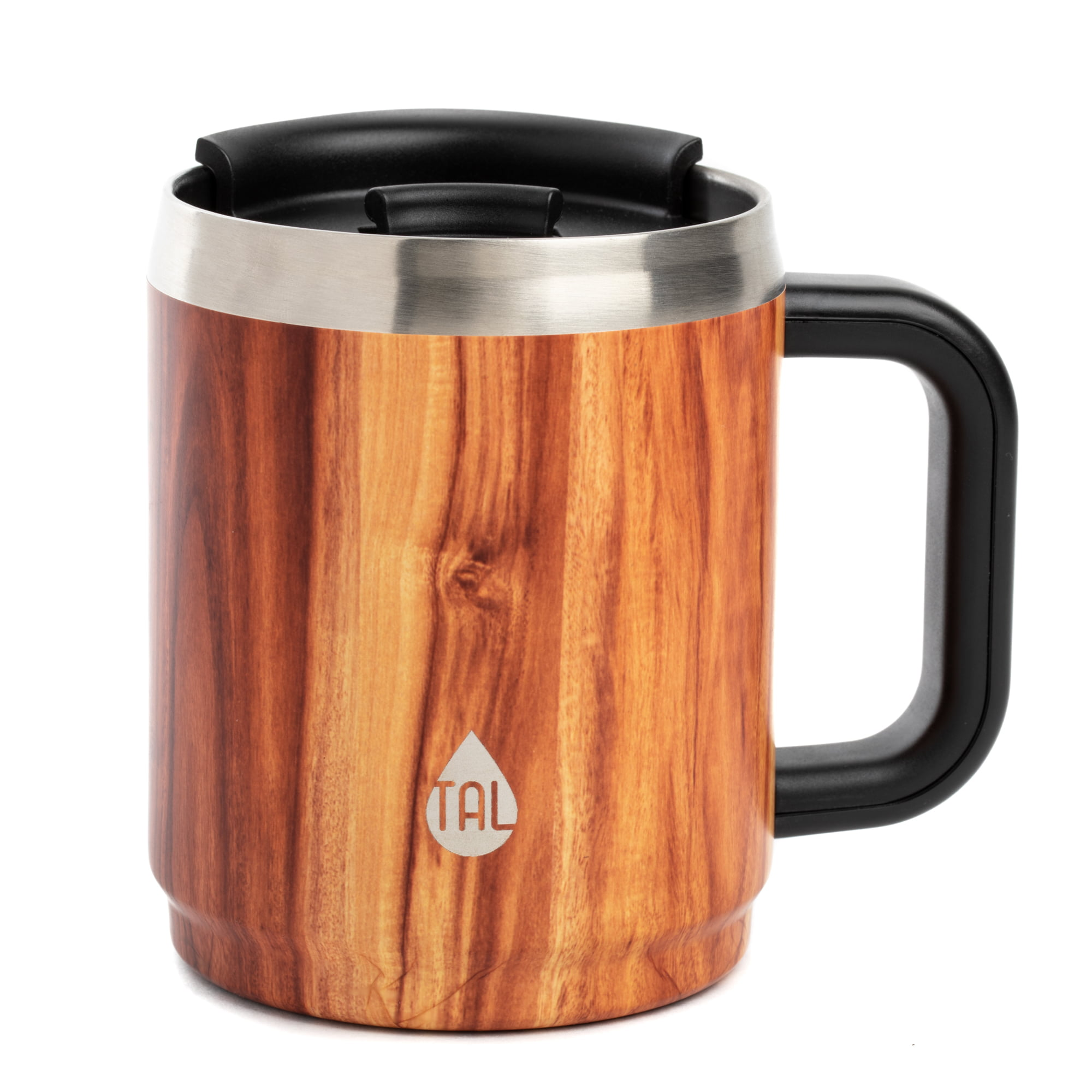 Tal Double Wall Insulated Stainless Steel Boulder Mug 14oz Wood Walmart Com Walmart Com