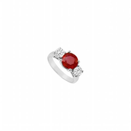 3 Stone Fine Diamond (Fine Jewelry Vault UBJ210W14DR-101RS4 Three Stone Ruby & Diamond Ring 14K White Gold, 3.00 CT - Size 4 )
