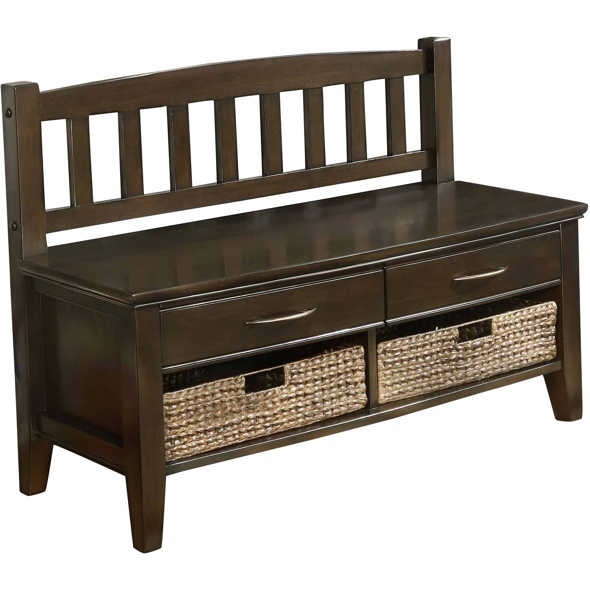 Brooklyn + Max Carolina Dark Exeter Brown Entryway Storage Bench with Drawers and Cubbies