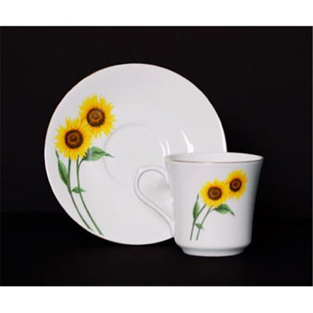 Chinese Aubusson China (Euland China DSFL2-003SCS 8-Piece Cup And Saucer Set - Sunflower)