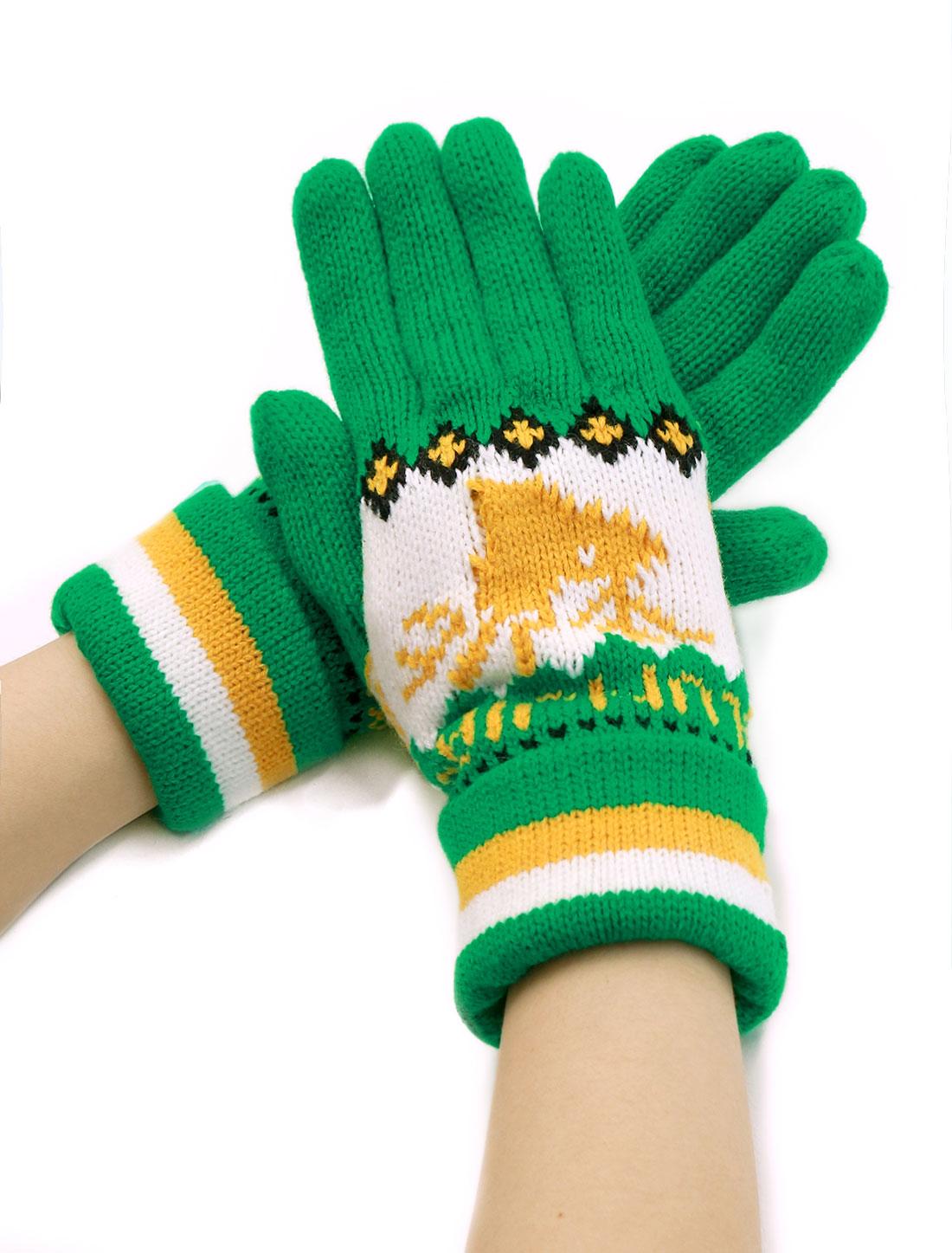 Unique Bargains Women's Wrist Length Deer Pattern Knit Roll Up Cuffed Gloves Pair Green