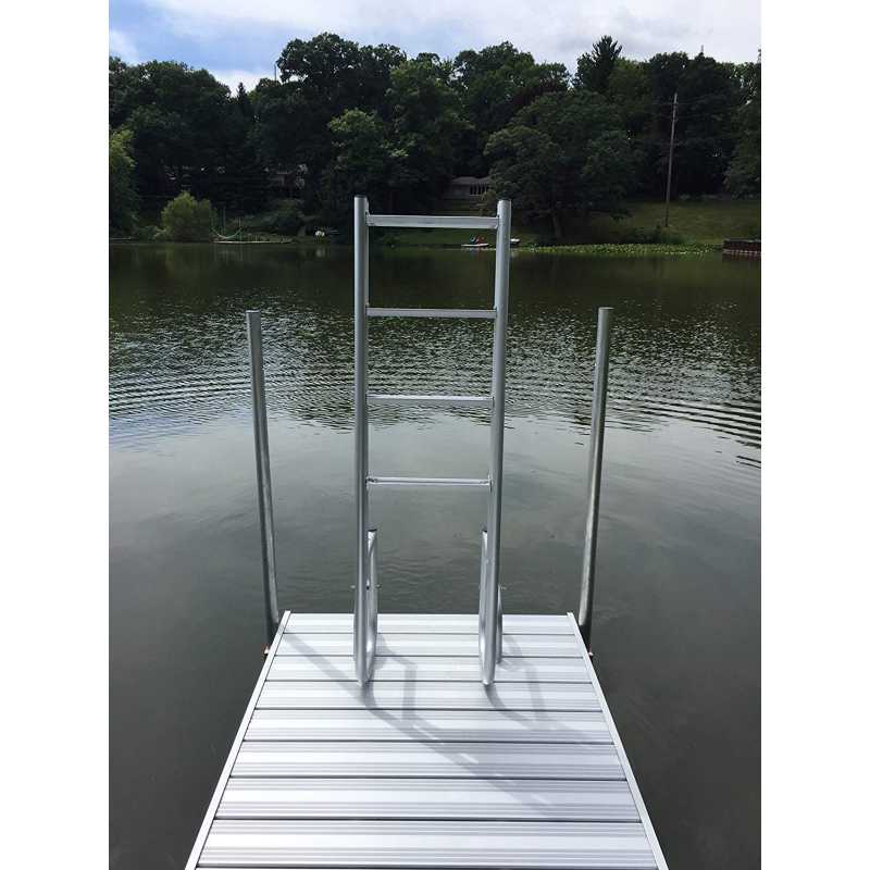 4 Step Heavy Duty Anodized Aluminum Swimming Pool Ladder with Flip up Kit