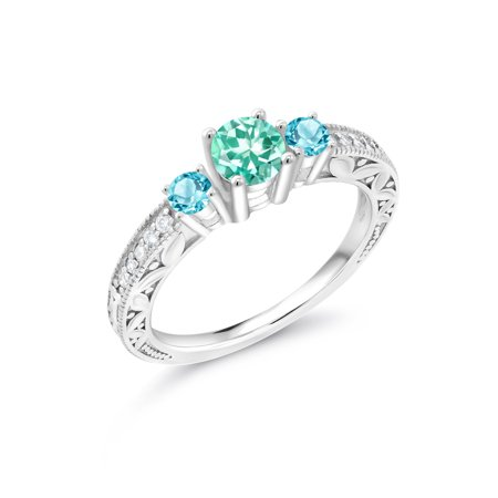 0.93 Ct Round Blue Apatite Swiss Blue Topaz 925 Sterling Silver Engagement Ring