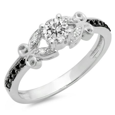 Dazzlingrock Collection 0.50 Carat (Ctw) 14K Black & White Diamond Bridal Engagement Ring 1/2 CT, White Gold, Size 5