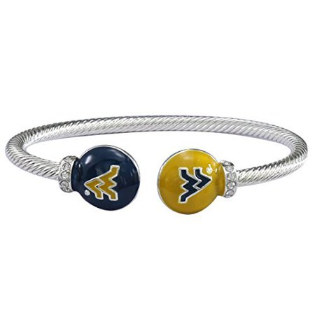 West Virginia Mountaineers Brass - West Virginia Mountaineers Brady Cuff Bracelet with Double Circle Logo