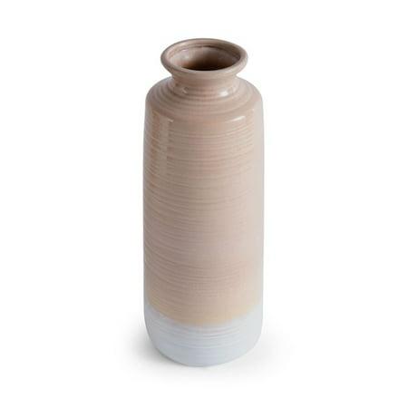 Elements 16 Inch Ceramic Tan Rippled Shoulder Vase