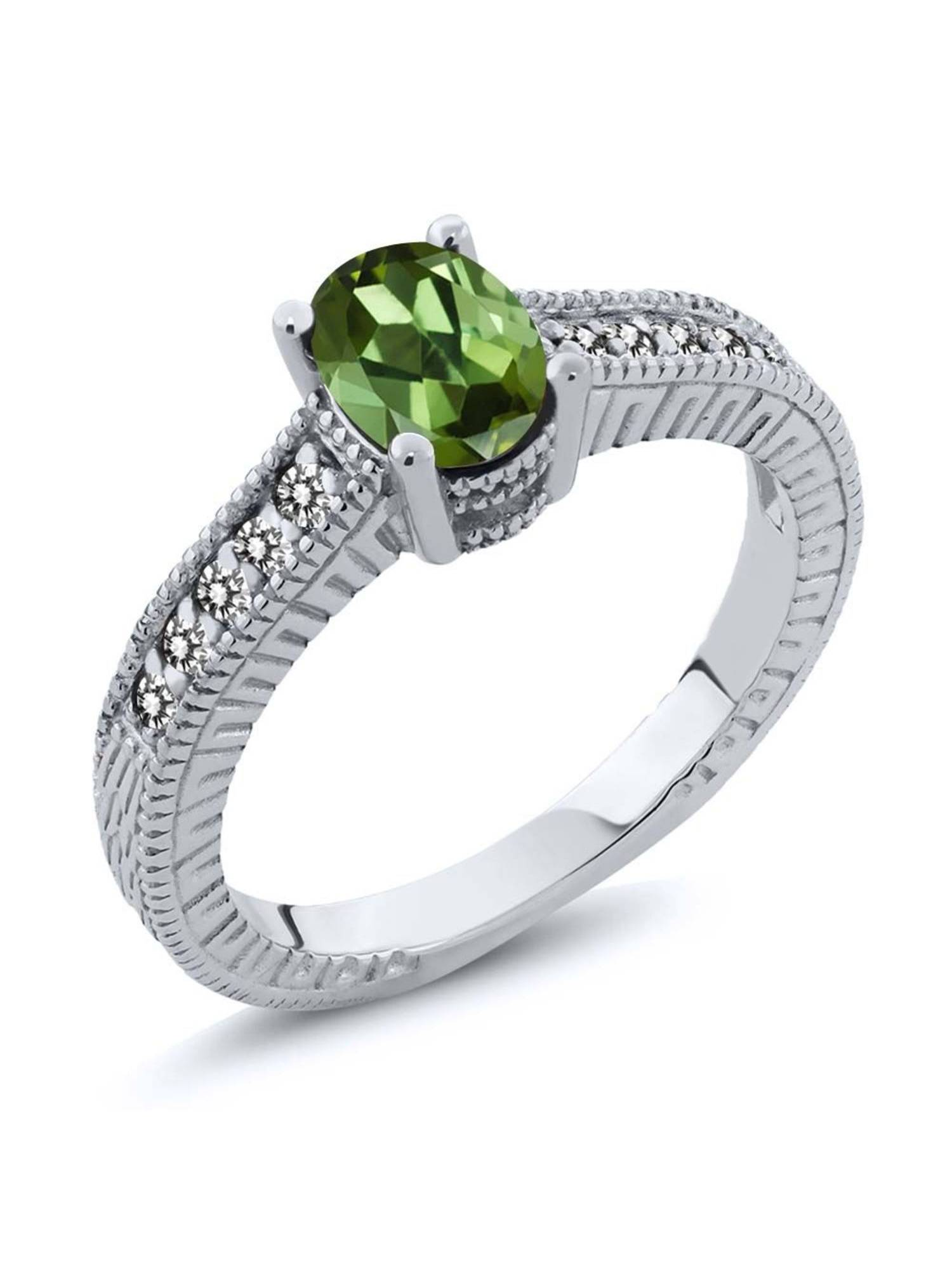 1.18 Ct Oval Green Tourmaline White Diamond 925 Sterling Silver Engagement Ring by