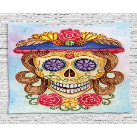Day Of The Dead Decor Tapestry, Cute Lady Mommy Skull Head with Flower Hat Spanish Mexican Art Print, Wall Hanging for Bedroom Living Room Dorm Decor, 60W X 40L Inches, Multicolor, by Ambesonne