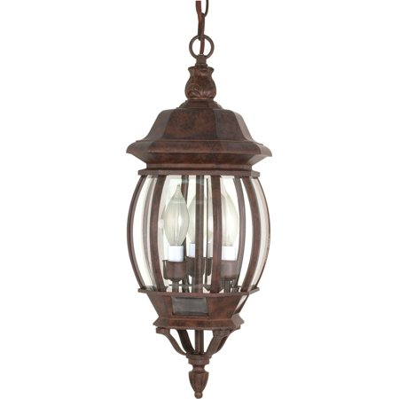 3 Light Outdoor Hanging Candelabra (Outdoor Pendant 3 Light With Old Bronze Finish Aluminum Candelabra Base 7 inch 180 Watts )