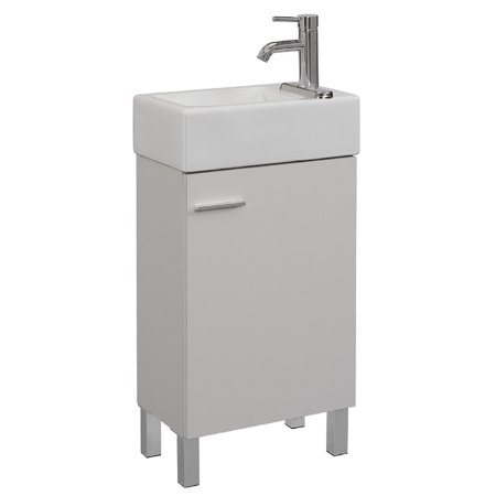 Runfine Vitreous China Top Reversible Vanity with 2 Options; Wall Hang Or Legs, White Finish