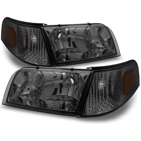 Fit 98-11 Crown Victoria Smoke Headlights + Corner Signal Lamps Replacement -