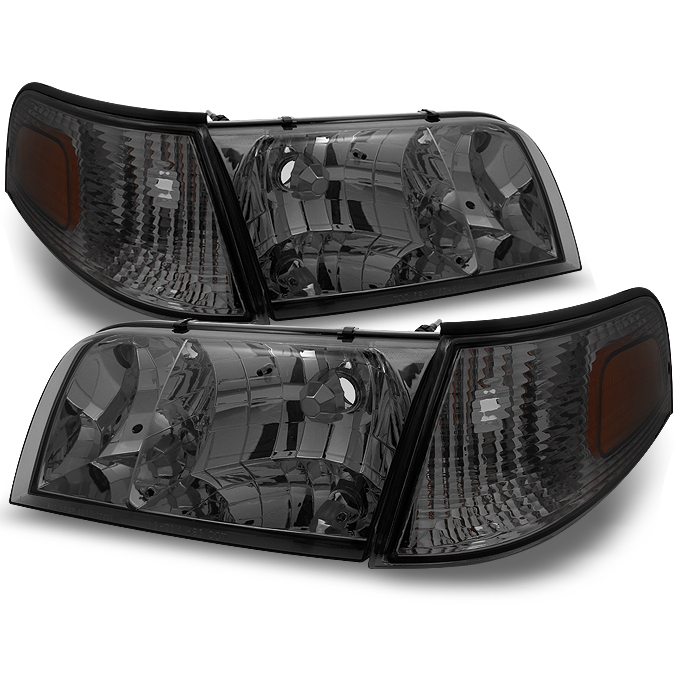 Fit 98-11 Crown Victoria Smoke Headlights + Corner Signal Lamps Replacement 4pcs
