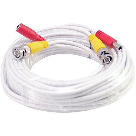 10 General Cables (10FT White Premade BNC Video Power Cable / Wire For Security Camera, CCTV, DVR, Surveillance System, Plug & Play (White,)