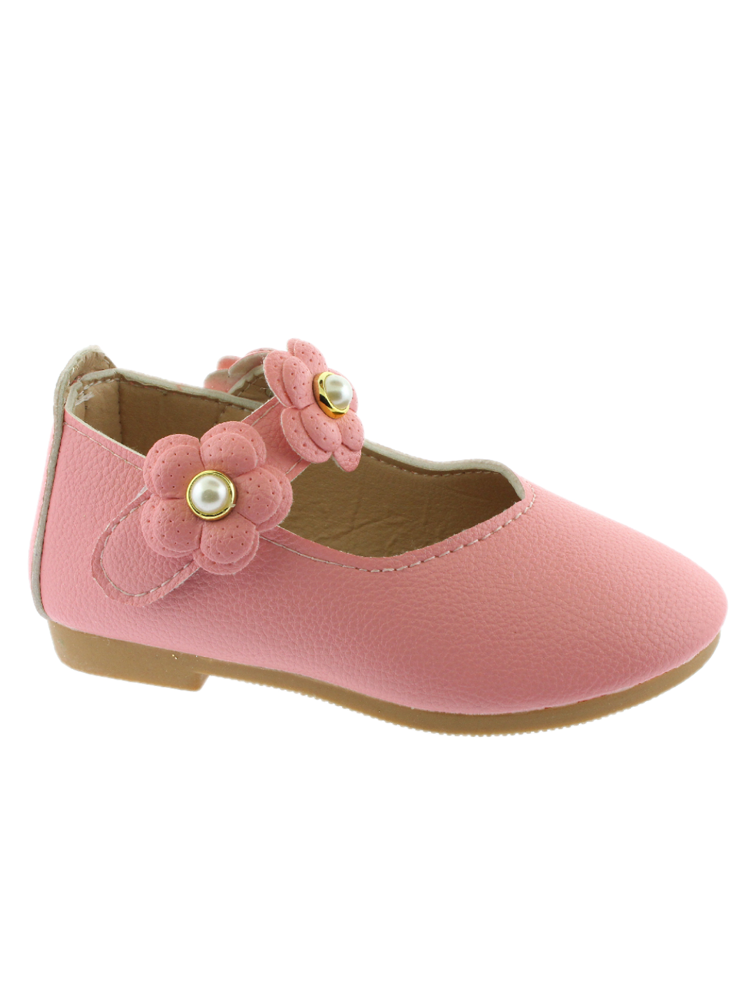Kate Girls Pink Flower Pearl Strap Mary Jane Shoes