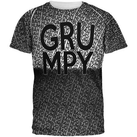Christmas Grumpy Bah Humbug Pattern All Over Mens T Shirt - Halloween's Over Christmas Meme