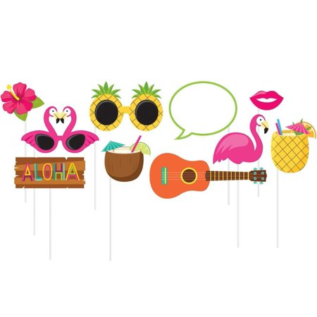 10-Piece Photo Props For Party, Luau, 10-Count assorted photo booth props; die-cut from card stock, attached to sturdy 10-inch sticks By Creative - Luau Photo Props