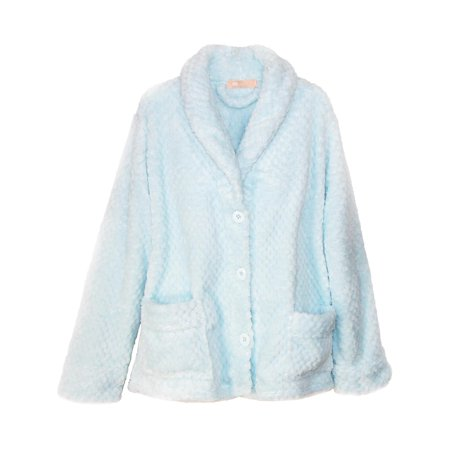 Ruffle Bed Jacket - Women's Button Front Bed Coat