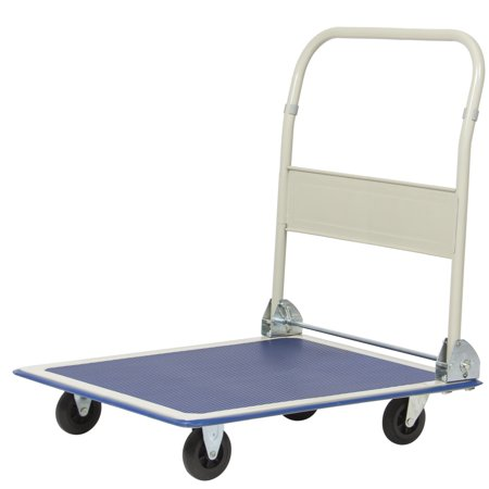 Best Choice Products 4-Wheel Foldable Rolling Warehouse Moving Flatbed Platform Dolly Push Cart w/ 660lb Capacity, Non-Slip Surface - Blue