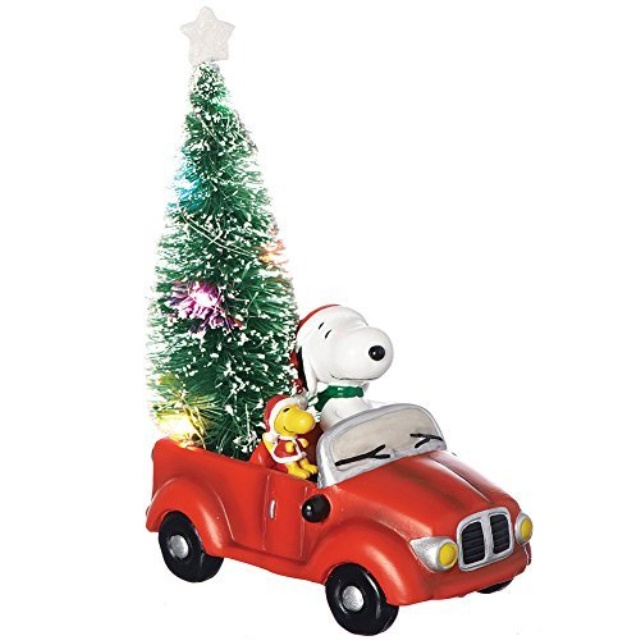 """SNOOPY IN CAR WITH LIGHTS STRUNG AROUND IT ORNAMENT 4/"""""""