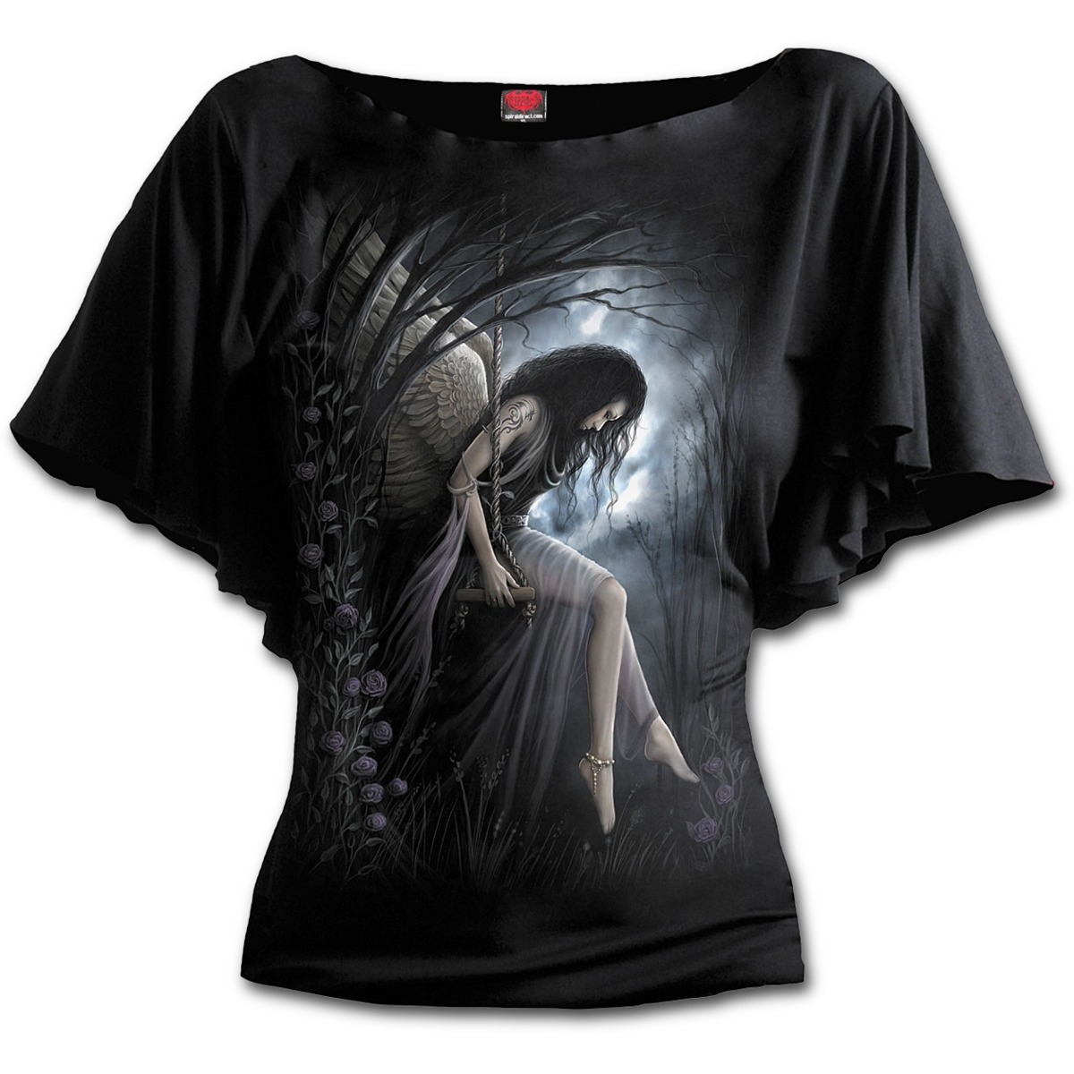 Spiral Direct ANGEL LAMENT Viscose Boat Neck Bat Sleeve Top BlackAngel |Wings |Roses |TombStone